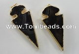 NGP1410 30*65mm arrowhead agate gemstone pendants wholesale