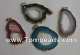 NGP1431 30*45mm - 45*55mm freeform plated druzy agate pendants