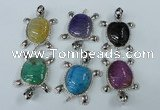NGP1436 43*60mm tortoise agate pendants with crystal pave alloy settings
