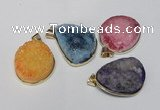 NGP1515 20*30mm - 25*35mm freeform plated druzy agate pendants