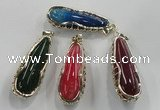 NGP1563 18*25*65mm teardrop agate with brass setting pendants