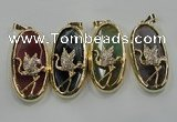 NGP1564 8*28*60mm oval agate with brass setting pendants