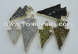 NGP1819 18*38mm - 28*45mm arrowhead druzy agate gemstone pendants