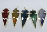 NGP1927 30*65mm arrowhead agate gemstone pendants wholesale