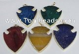 NGP1966 47*57mm arrowhead agate gemstone pendants wholesale