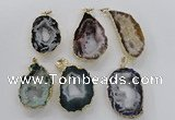 NGP1974 25*40mm - 30*50mm freeform druzy agate gemstone pendants