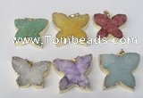 NGP2120 22*30mm - 25*30mm butterfly druzy agate gemstone pendants