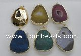 NGP2247 30*40mm - 40*45mm freeform druzy agate gemstone pendants