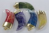 NGP2313 25*60mm - 28*65mm oxhorn agate gemstone pendants