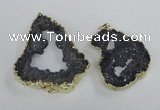 NGP2325 35*45mm - 45*55mm freeform plated druzy agate pendants