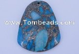 NGP238 37*47mm dyed golden turquoise & pyrite gemstone pendants