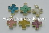 NGP2403 25*26mm - 27*28mm cross druzy agate pendants wholesale