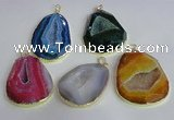 NGP2437 30*40mm - 40*45mm freeform druzy agate pendants wholesale