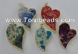 NGP2602 25*35mm - 35*45mm heart sea sediment jasper pendants