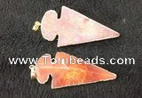 NGP2657 24*53mm - 26*55mm arrowhead agate pendants wholesale