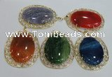 NGP2760 50*60mm oval agate gemstone pendants wholesale