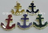 NGP2789 40*50mm anchor agate gemstone pendants wholesale