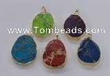 NGP2947 25*35mm � 35*45mm freeform sea sediment jasper pendants