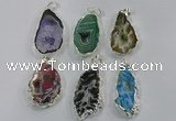 NGP3105 25*40mm - 30*50mm freeform druzy agate gemstone pendants
