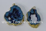 NGP3144 25*35mm - 40*50mm freeform plated druzy agate pendants