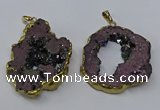 NGP3146 25*35mm - 40*50mm freeform plated druzy agate pendants