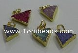 NGP3435 12*16mm - 15*20mm triangle druzy agate gemstone pendants