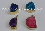 NGP3472 20*30mm - 25*35mm freeform druzy agate pendants wholesale