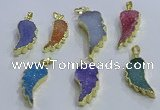NGP3610 15*30mm - 18*40mm wing-shaped druzy agate pendants