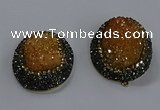 NGP3678 35*45mm oval plated druzy agate gemstone pendants