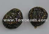 NGP3691 35*45mm teardrop plated druzy agate gemstone pendants