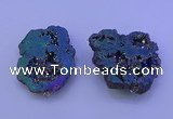 NGP3721 28*35mm - 40*45mm freeform plated druzy agate pendants