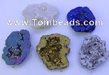 NGP3723 28*35mm - 40*45mm freeform plated druzy agate pendants
