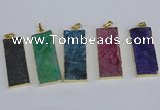 NGP3960 20*50mm - 25*45mm rectangle druzy agate gemstone pendants