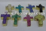 NGP4180 30*48mm - 32*50mm cross druzy quartz pendants wholesale