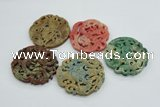 NGP4531 55*65mm - 65*68mm Carved flower jade pendants wholesale