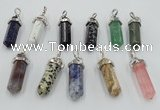NGP5023 8*30mm sticks mixed gemstone pendants wholesale