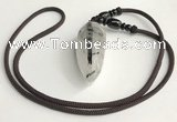 NGP5582 Black rutilated quartz teardrop pendant with nylon cord necklace