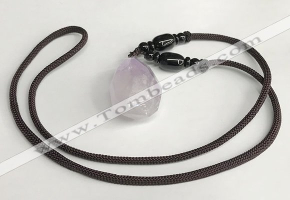 NGP5587 Lavender amethyst nugget pendant with nylon cord necklace