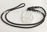 NGP5590 White crystal freeform pendant with nylon cord necklace