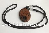 NGP5620 Mahogany obsidian oval pendant with nylon cord necklace