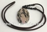 NGP5624 Rhodonite oval pendant with nylon cord necklace