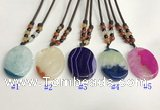 NGP5646 Agate oval pendant with nylon cord necklace