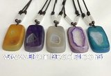 NGP5652 Agate rectangle pendant with nylon cord necklace