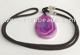 NGP5657 Agate flat teardrop pendant with nylon cord necklace