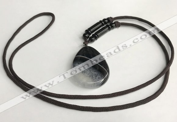 NGP5660 Agate flat teardrop pendant with nylon cord necklace