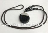 NGP5661 Agate oval pendant with nylon cord necklace