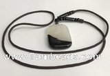 NGP5664 Agate rectangle pendant with nylon cord necklace