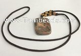 NGP5691 Rainforest agate rectangle pendant with nylon cord necklace