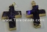 NGP6038 30*40mm - 35*45mm cross amethyst pendants