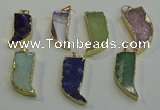 NGP6060 15*40mm - 18*45mm horn mixed gemstone pendants